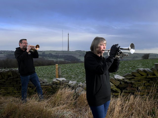 Rachel Taylor with her brother Robert Jagger from Skelmanthorpe Brass Band pictured with their cornets, at Skelmanthorpe. Picture by Simon Hulme
