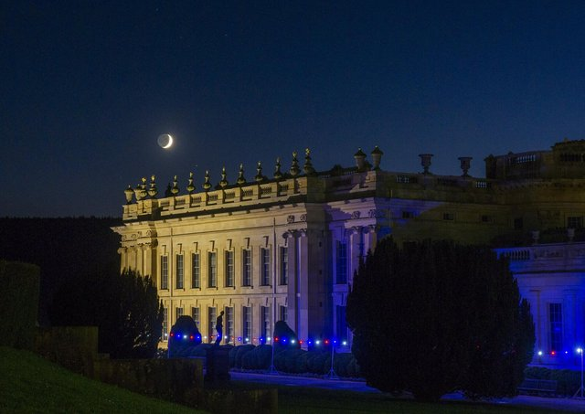 A crescent moon rises above the 105-acre garden at Chatsworth House. Picture Tony Johnson