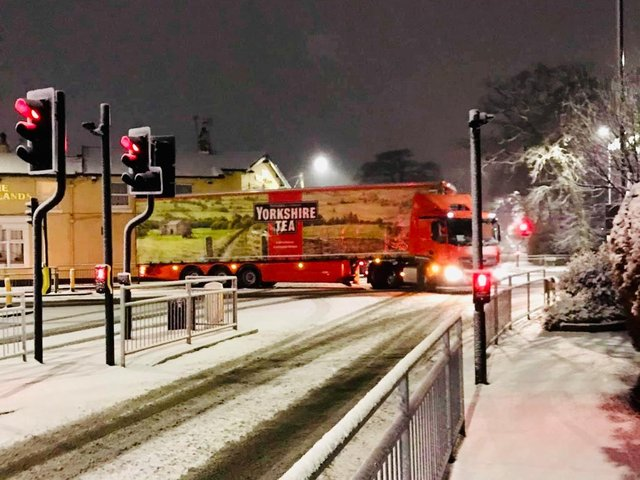 A police sergeant in Yorkshire shared this photo of A Yorkshire Tea lorry getting through the snow, from Beth Berry