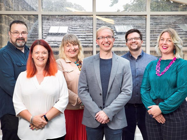 Pictured: Newport Land and Law senior team (from left to right):  Clive Newport (operations director), Emily Coburn-Hall (office manager), Anna Newport (solicitor director), Alistair Mason (non-executive Director), Chris Walton (consultant solicitor), Ellen Wood (practice director).