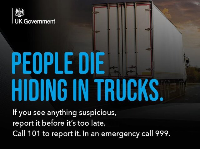 The hard-hitting campaign is reminding hauliers and the general public that people die whilst hiding in trucks and the charity is urging people to report anything they see or hear that is suspicious before it is too late.