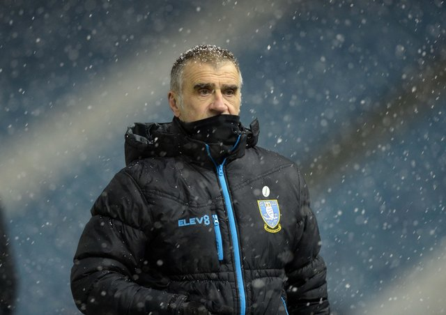 Neil Thompson: Braving the cold and holding the fort as Sheffield Wednesday enjoyed victory over Wycombe Wanderers in their Championship basement battle in midweek. (Picture: Steve Ellis)