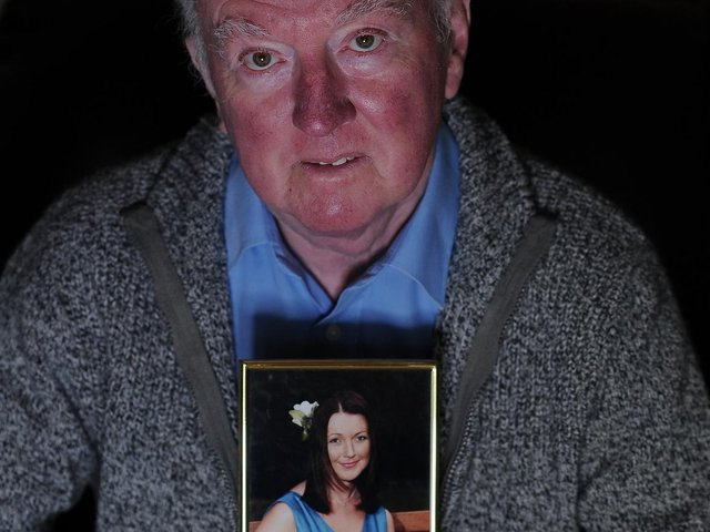 Peter Lawrence is pictured with a photograph of his missing daughter, Claudia, on the 10th anniversary of her disappearance. She was last seen near her home in York in March 2009, but despite a major police inquiry, no trace of her has ever been found. (Picture: Simon Hulme.)