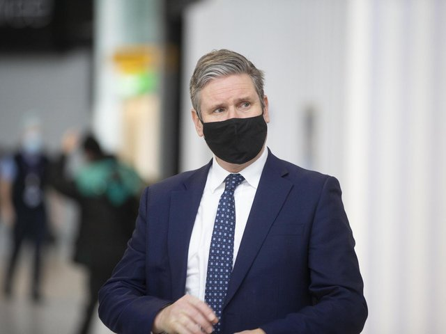Labour leader Sir Keir Starmer during a visit to Terminal 2 at Heathrow Airport, London, to see the COVID-19 response. Photo: PA