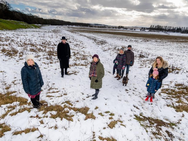Objectors: left to right Councillor Julie Abraham, GP Dr Robert Mitchell, Councillor Vanessa Walker, residents Julie and Stewart Bentley with their dog Alfie, and Sam Quelch, with daughter Fearne Collingwood Picture James Hardisty