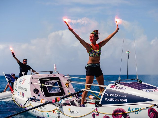 Handout photo issued by Atlantic Campaigns of Jasmine Harrison after completing the Talisker Whisky Atlantic Challenge after arriving at Antigua, West Indies.  Atlantic Campaigns/Penny Bird/PA Wire