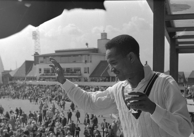 Legend: Garfield Sobers waves to crowd at Headingley in 1966.
