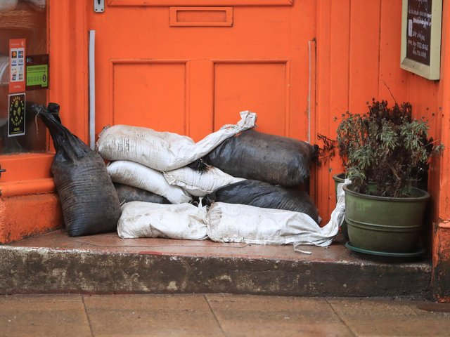Sand bags placed against a door of a property in Hebden Bridge in the Upper Calder Valley in West Yorkshire, in anticipation of Storm Christoph last month. Photo: PA
