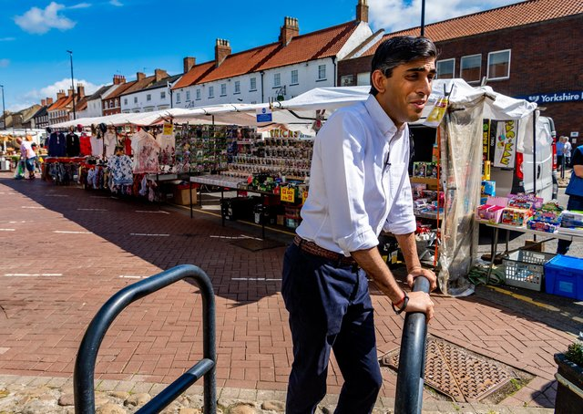 Chancellor Rishi Sunak during a walkabout in Northallerton last June. Photo: James Hardisty.