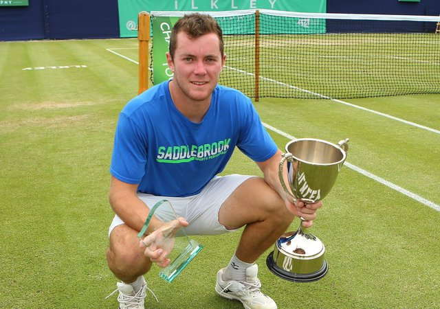 Dominik Koepfer: With the Ilkley Trophy after victory over Dennis Novak. Picture: Getty Images