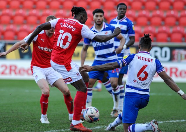 No way: Rotherham's Freddie Ladapo has a shot blocked by Liam Moore. Pictures: Dean Atkins