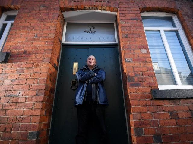 Jeremy Poynting outside Peepal Tree Press's modest HQ in Burley, Leeds. (Simon Hulme).