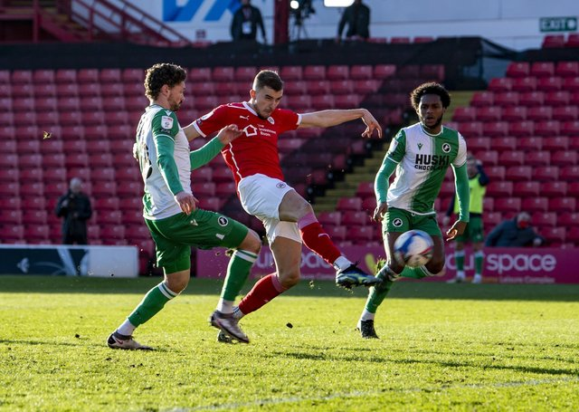 Barnsley's Michal Helik smashes the second goal against Millwall (Picture: Tony Johnson)