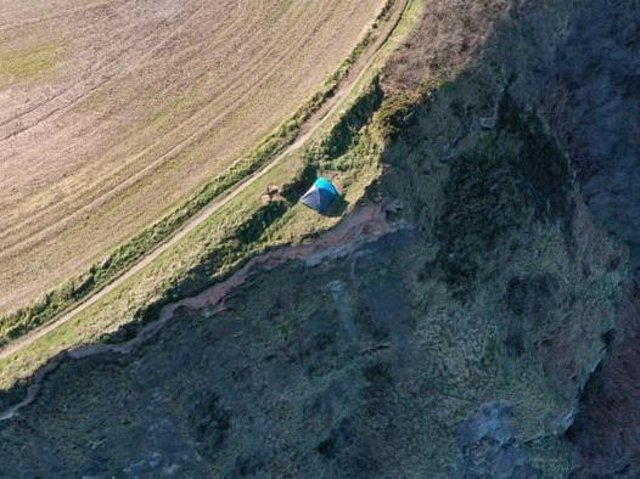 The tent was positioned just 6ft away from a 280ft drop