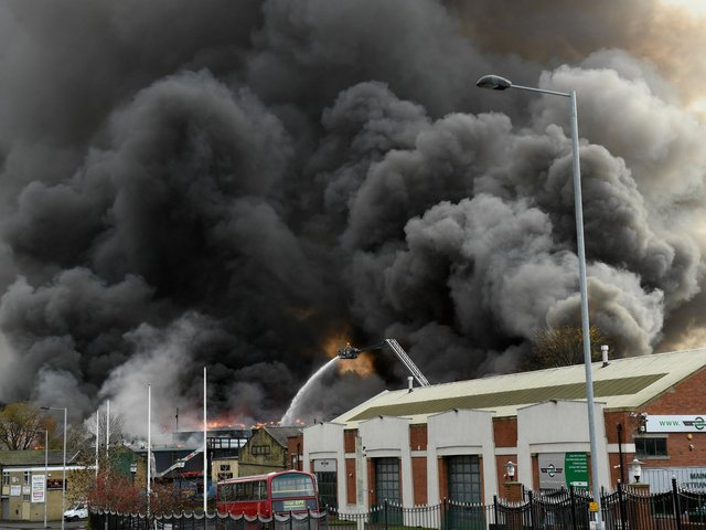 The fire at a tyre storage yard at Spring Mill Street in Bradford took three weeks to fully extinguish