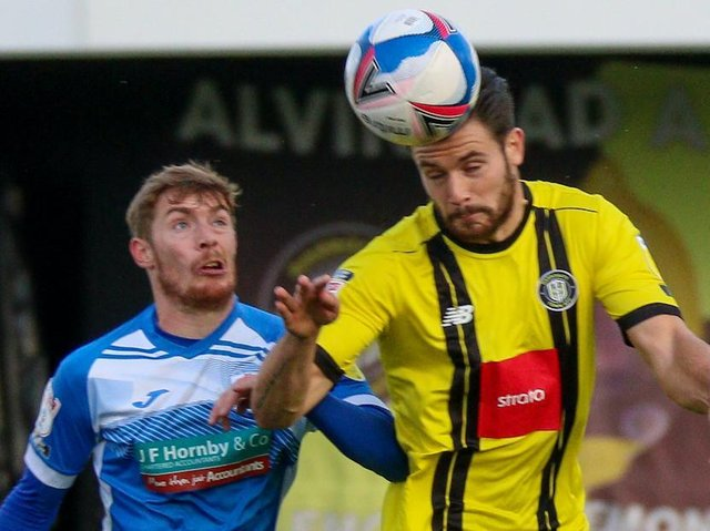 Harrogate Town beat Barrow 1-0 when the sides met at the EnviroVent Stadium back in October. Pictures: Matt Kirkham