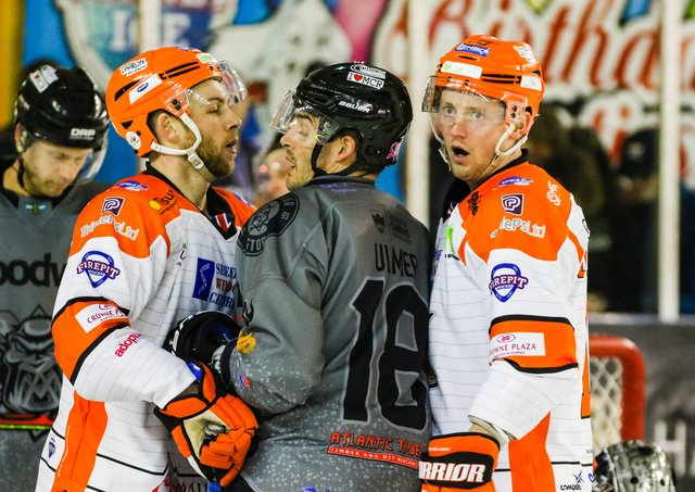 Davey Phillips, right, is back playing alongside former Sheffield Steelers' team-mate Ben O'Connor, left, this time withSheffield Steeldogs. Picture courtesy of Mark Ferriss/EIHL.