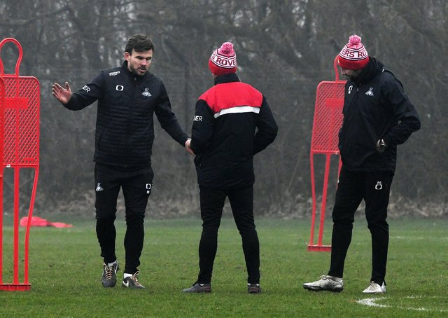 Doncater Rovers' Andy Butler in charge of his first training session after being ex manager Darren Moore left for Sheffield Wednesday. Picture: Andrew Roe/AHPIX LTD.