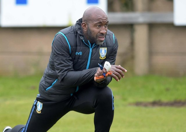 New Sheffield Wednesday boss Darren Moore gets to work on the training ground on Monday morning. Picture via SWFC.