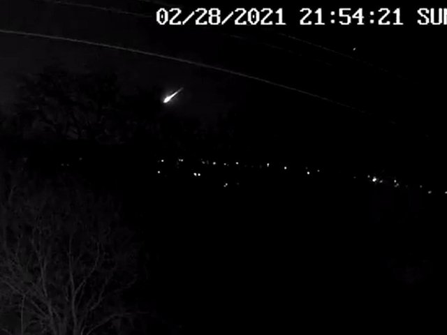 Screen grab from a video taken with permission from the Twitter feed of @JillHemingway of a fireball that lit up the skies over the UK on Sunday night - taken from Sowerby Bridge, West Yorkshire, which scientists have said is likely to have been a small asteroid entering the Earth's atmosphere. PA