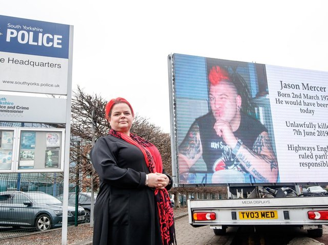 Claire Mercer, whose husband Jason was killed along with Alexandru Murgeanu when they stopped on a section of smart motorway on the M1 near Sheffield after a minor collision and were then hit by a lorry, protests outside South Yorkshire Police HQ in Sheffield, where she is calling on the chief constable to prosecute Highways England over her husband's death.