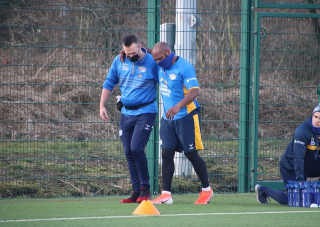 BIG BLOW: Rob Lui is helped from the training field after suffering a quad injury which will keep him out of action for up to three months. Picture by Phil Daly/Leeds Rhinos.