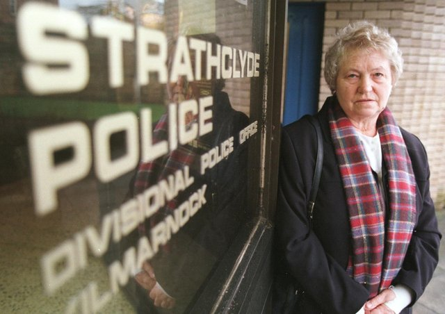 This was Molly Godley during a visit to Strathclyde Police after her son Ian's murder in February 1998. Photo: Exeter Express & Echo.
