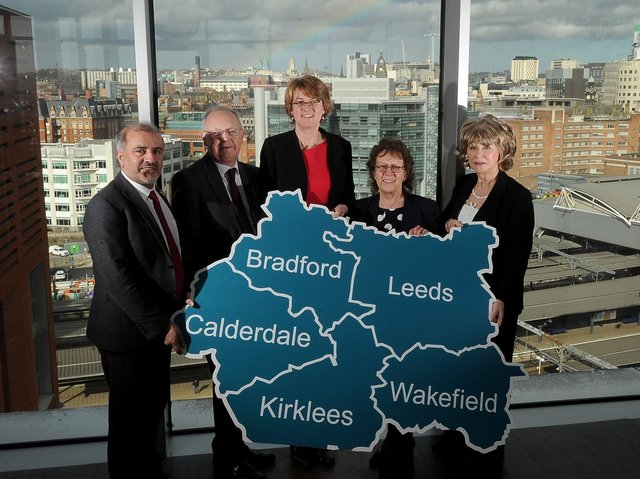 Devolution photocall with the leaders of the local councils, Granary Wharf, Leeds. Pictured from the left are Shabir Pandor (kirklees Council Leader), Tim Swift (Calderdale) Susan Hinchcliffe (Bradford) Judith Blake (Leeds) and Denise Jeffery (Wakefield).. 11th March 2019 ..Picture by Simon Hulme