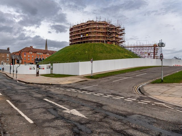 Scaffolding surrounds Clifford's Tower in York