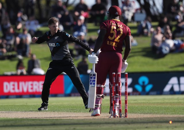 GOT HIM: New Zealand's Lockie Ferguson celebrates the wicket of West Indies' Rovman Powell during the second T20 match at the Bay Oval in November last year. Picture: Michael Bradley/AFP via Getty Images.