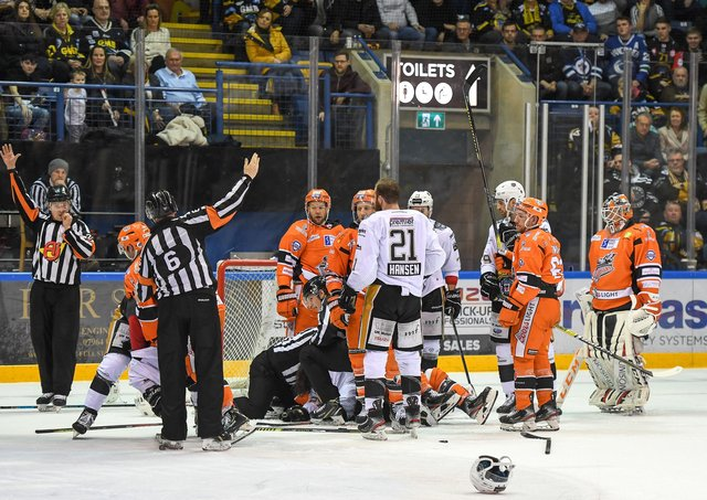 Nottingham Panthers and Sheffield Steelers are two of four teams set to do battle at the NIC throughout April. Picture courtesy of EIHL/Karl Denham