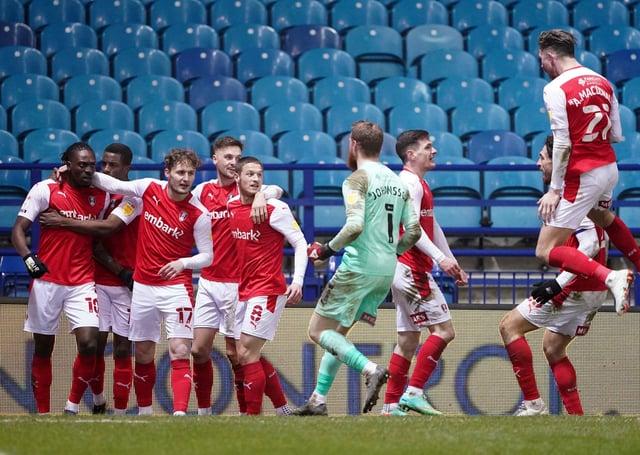 Rotherham United's Freddie Ladapo (left) celebrates scoring the winning gosl. Picture: PA.