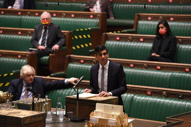 Rishi Sunak delivering his Budget to the House of Commons in London. Picture: Parliament/Jessica Taylor/PA Wire