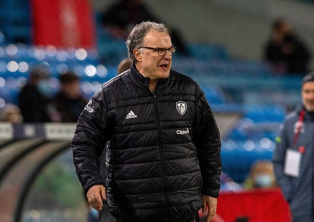 Marcelo Bielsa. Leeds Utd v Aston Villa.  Premier League.  Elland Road Stadium. 27th February 2021.  Picture Bruce Rollinson