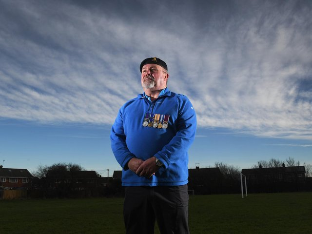 Pictured, Captain Michael Richardson. The 59-year-old from Beverley in East Yorkshire joined the military in 1977, the same year his father left after more than 20 years of service. Photo credit: Simon Hulme/ JPIMediaResell