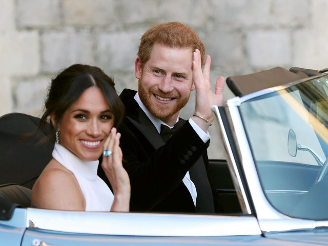 Harry and Meghan on their wedding day. Picture: PA
