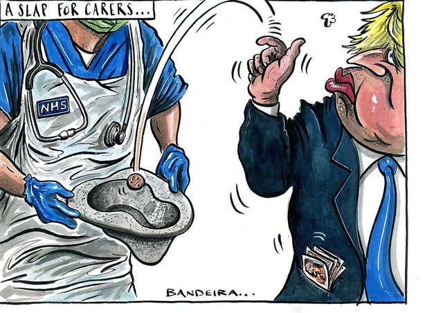 Graeme Bandeira's cartoon on the NHS pay controversy.