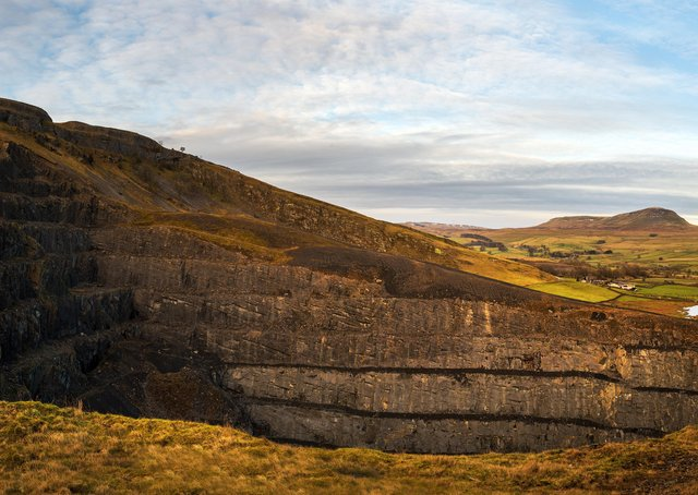 Composite panorama of Pen-y-Ghent seen from Dry Rigg Quarry at Helwith Bridge.  Picture Bruce Rollinson