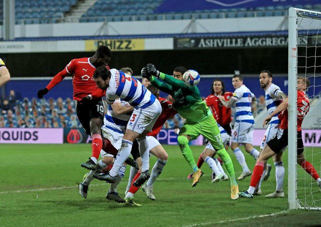 ON A ROLL: Barnsley's Daryl Dike scores the Reds' first goal in their 3-1 midweek win at QPR. Picture: Adam Davy/PA