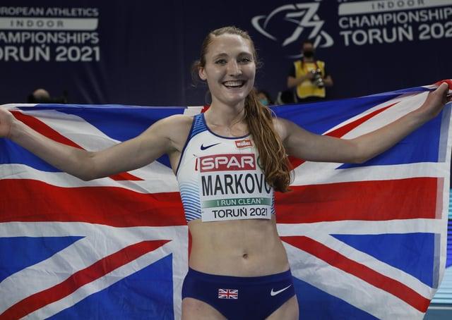 Britains Amy-Eloise Markovc celebrates after winning the women's 3000 meters final at the Poland European Indoor Athletics Championships in Torun, Poland. (AP Photo/Darko Vojinovic)