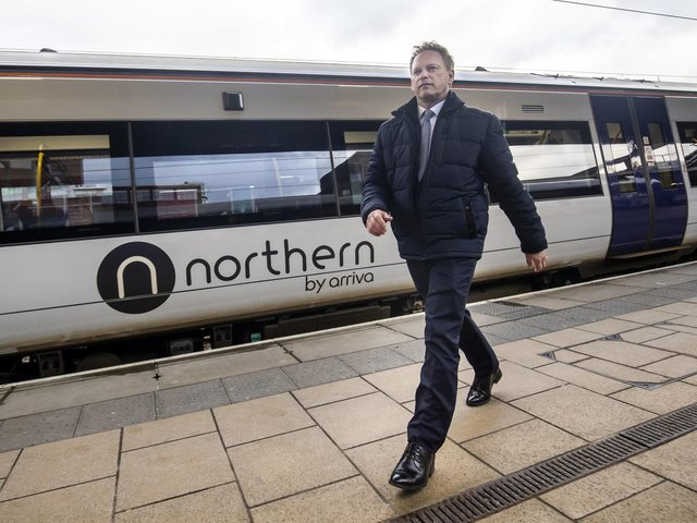 Transport Secretary Grant Shapps pictured last year in Leeds before lockdown restrictions were imposed.