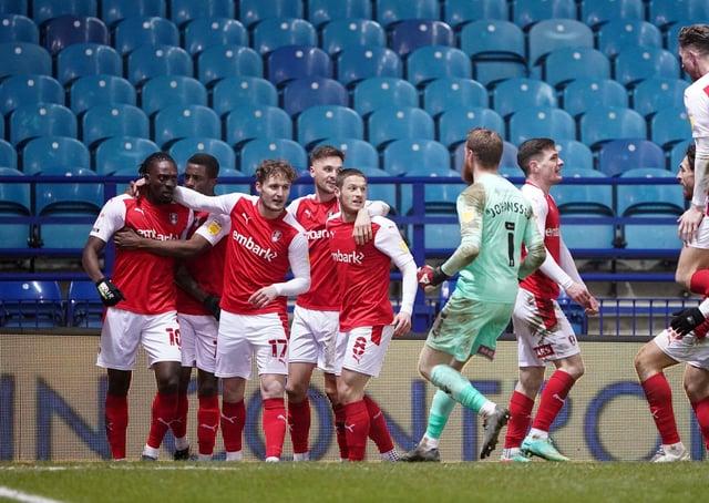 Rotherham United's Freddie Ladapo (left) celebrates scoring his side's winning goal at Hillsborough. Picture: Zac Goodwin/PA