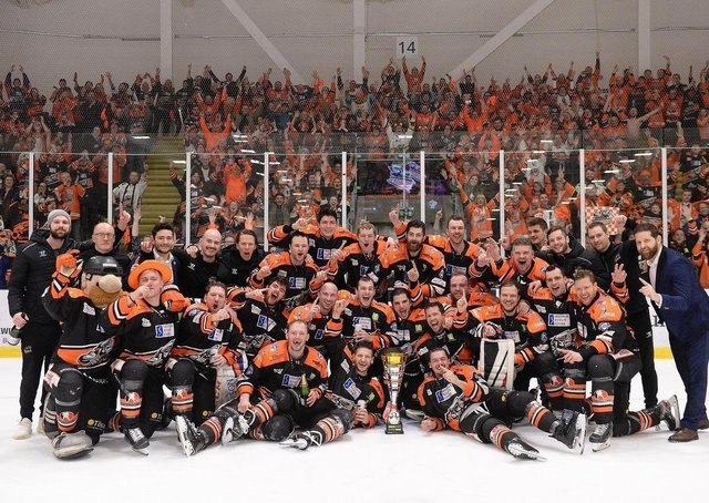 END GAME: Sheffield Steelers will take to the ice in April in the behind-closed-doors Elite Series - their first action since winning the Challenge Cup in March last year. Picture courtesy of EIHL.