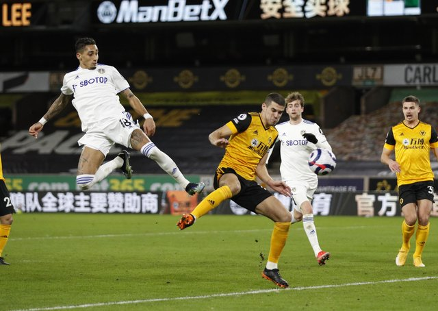 Star man: Raphinha having an effort deflected for a corner by Conor Coady of Wolverhampton. Picture: Sportimage