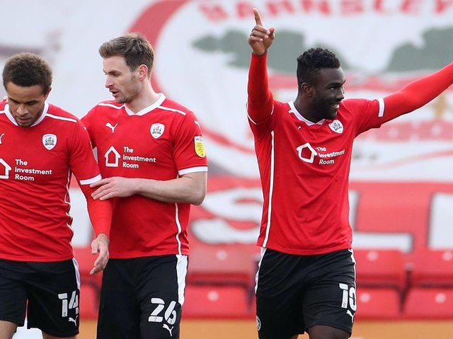 Daryl Dike celebrates after firing Barnsley into a 49th-minute lead against Birmingham City. Pictures: Getty Images