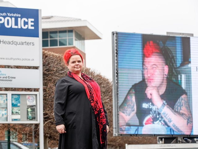 Claire Mercer, whose husband Jason was killed along with Alexandru Murgeanu when they stopped on a section of smart motorway on the M1 near Sheffield after a minor collision and were then hit by a lorry, protests outside South Yorkshire Police HQ in Sheffield, where she is calling on the chief constable to prosecute Highways England over her husband's death. Photo: PA