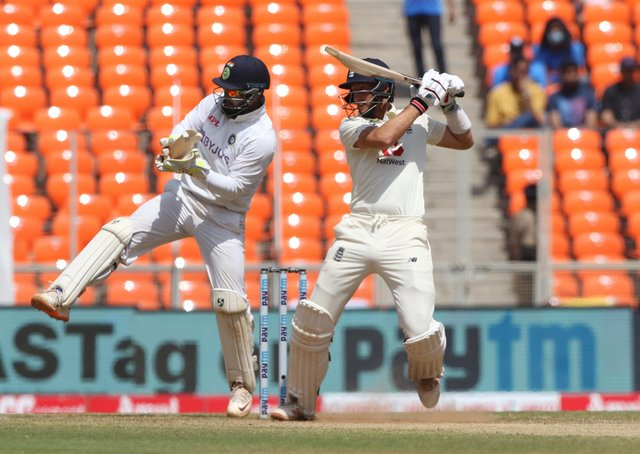 Cutting loose: Joe Root plays a shot during day three of the fourth Test at the Narendra Modi Stadium, Ahmedabad. Pictures: Pankaj Nangia/Sportzpics for BCCI