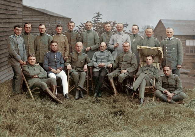 A colourised photograph of the Skipton prisoners, given to Anne Buckley by the son of PoW Ernesto Brucker