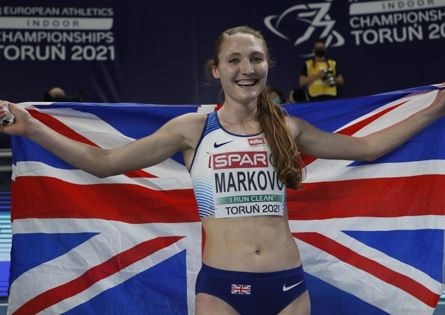 Golden girl: Wakefield Harriers' Amy-Eloise Markovc won gold in the 3,000m at the European Indoor Championships. Picture: (AP Photo/Darko Vojinovic)