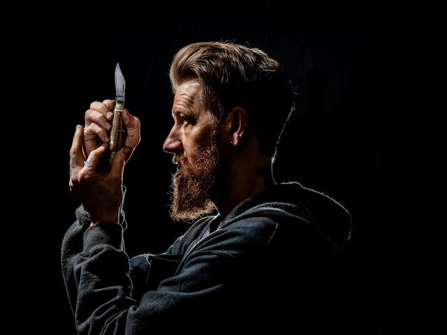 """heffield knife maker Michael May follows in the footsteps of the city's """"little mester"""" cutlers. (James Hardisty)."""